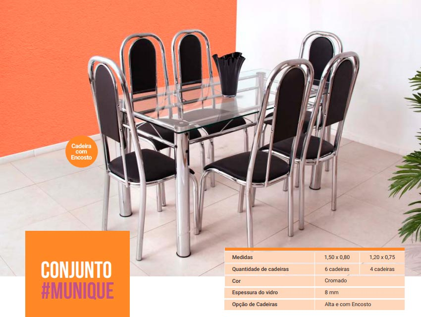 Conjunto Munique - 6 Cad. alta com encosto